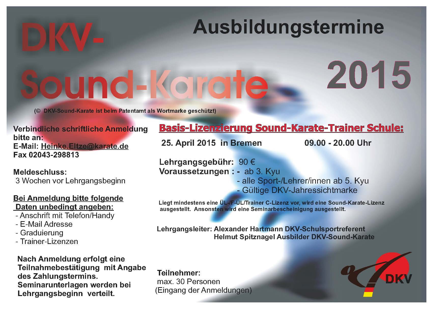 Schulsport Termine Sound-Karate 2015