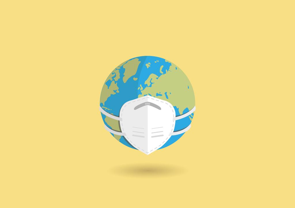 Globus mit Schutzmaske