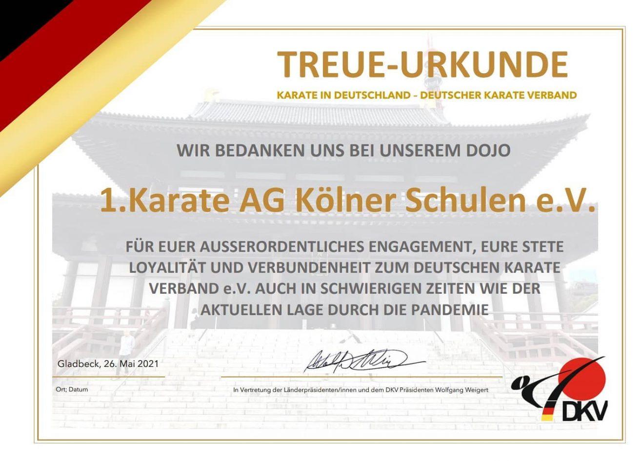 Treue-Urkunde des DKV für die Vereine